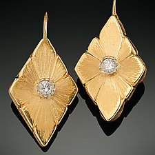Center Diamond Earrings by Rosario Garcia (Gold & Stone Earrings)