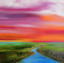 Stream in the Marsh by Mary Johnston (Oil Painting)