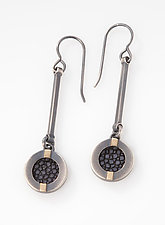 Stingray Striped Drop Earrings by Megan Clark (Gold & Silver Earrings)