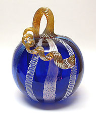 Cobalt Latticino and Dichroic Glass Pumpkin by Ken Hanson and Ingrid Hanson (Art Glass Sculpture)