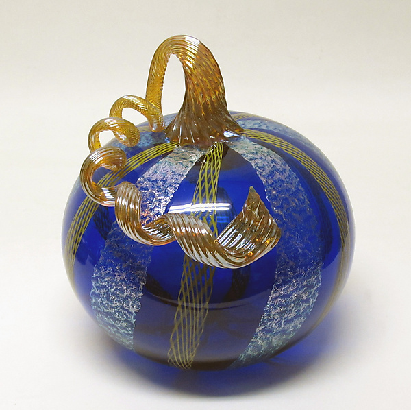 Cobalt with Yellow Latticino and Dichroic Glass Pumpkin