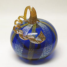 Cobalt with Yellow Latticino and Dichroic Glass Pumpkin by Ken Hanson and Ingrid Hanson (Art Glass Sculpture)