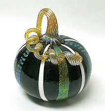 Black and White Dichroic Pumpkin by Ken Hanson and Ingrid Hanson (Art Glass Sculpture)