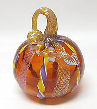 Aurora Pumpkin with Twisted Cane and Dichroic Glass by Ken Hanson and Ingrid Hanson (Art Glass Sculpture)