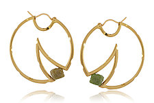 Mooncheese Earrings with Diamonds by Erik Stewart (Gold & Stone Earrings)