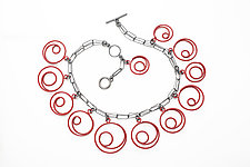Red Spirals Necklace by Donna D'Aquino (Silver & Brass Necklace)