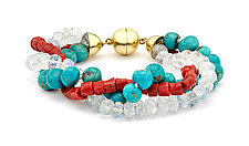 Coral, Moonstone & Turquoise Beaded Bracelet by Pamela Huizenga  (Beaded Bracelet)