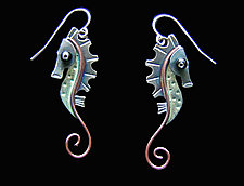 Seahorse Earrings by Lisa and Scott  Cylinder (Metal Earrings)