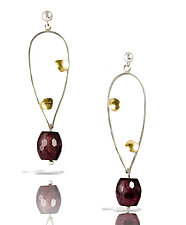 Watermelon Jade Open Pebble Earring by Lori Gottlieb (Gold, Silver & Stone Earrings)