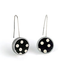 Black and White Dot Earrings by Melissa Stiles (Silver and Resin Earrings)