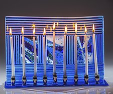 Blue and White Windows Menorah by Varda Avnisan (Art Glass Menorah)