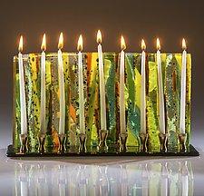 Green Forest Menorah by Varda Avnisan (Art Glass Menorah)