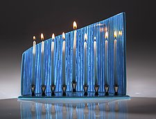 Blue Wall Menorah by Varda Avnisan (Art Glass Menorah)