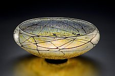 Gold Lustre Low Bowl by David Lindsay (Art Glass Bowl)