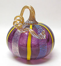 Amethyst Pumpkin with Yellow Cane and Dichroic Glass by Ken Hanson and Ingrid Hanson (Art Glass Sculpture)