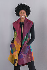 Ombre Patched Gold Stamp Vest - Bright by Mieko Mintz  (Cotton Kantha Vest)