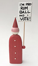 Picketing Santa: Rum Ball by Hilary Pfeifer (Wood Sculpture)