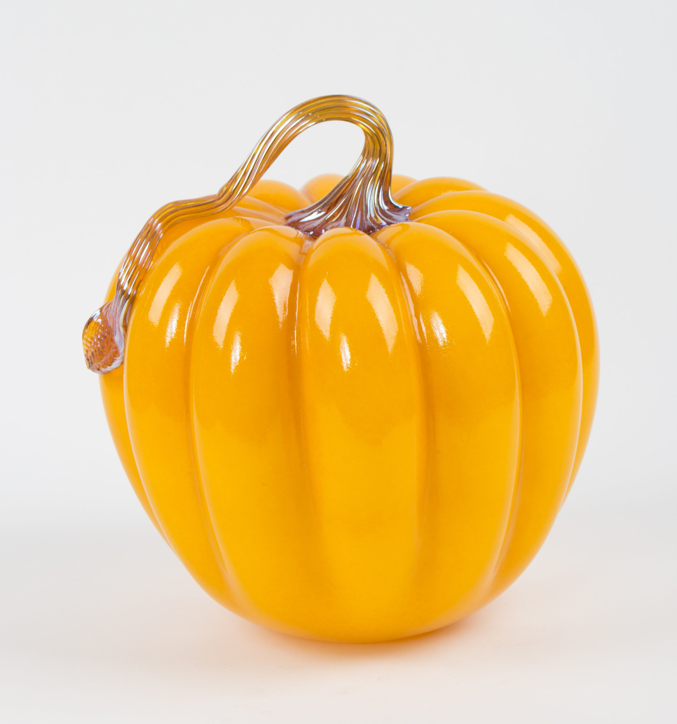 Large gold pumpkin by treg silkwood art glass sculpture Silkwood glass