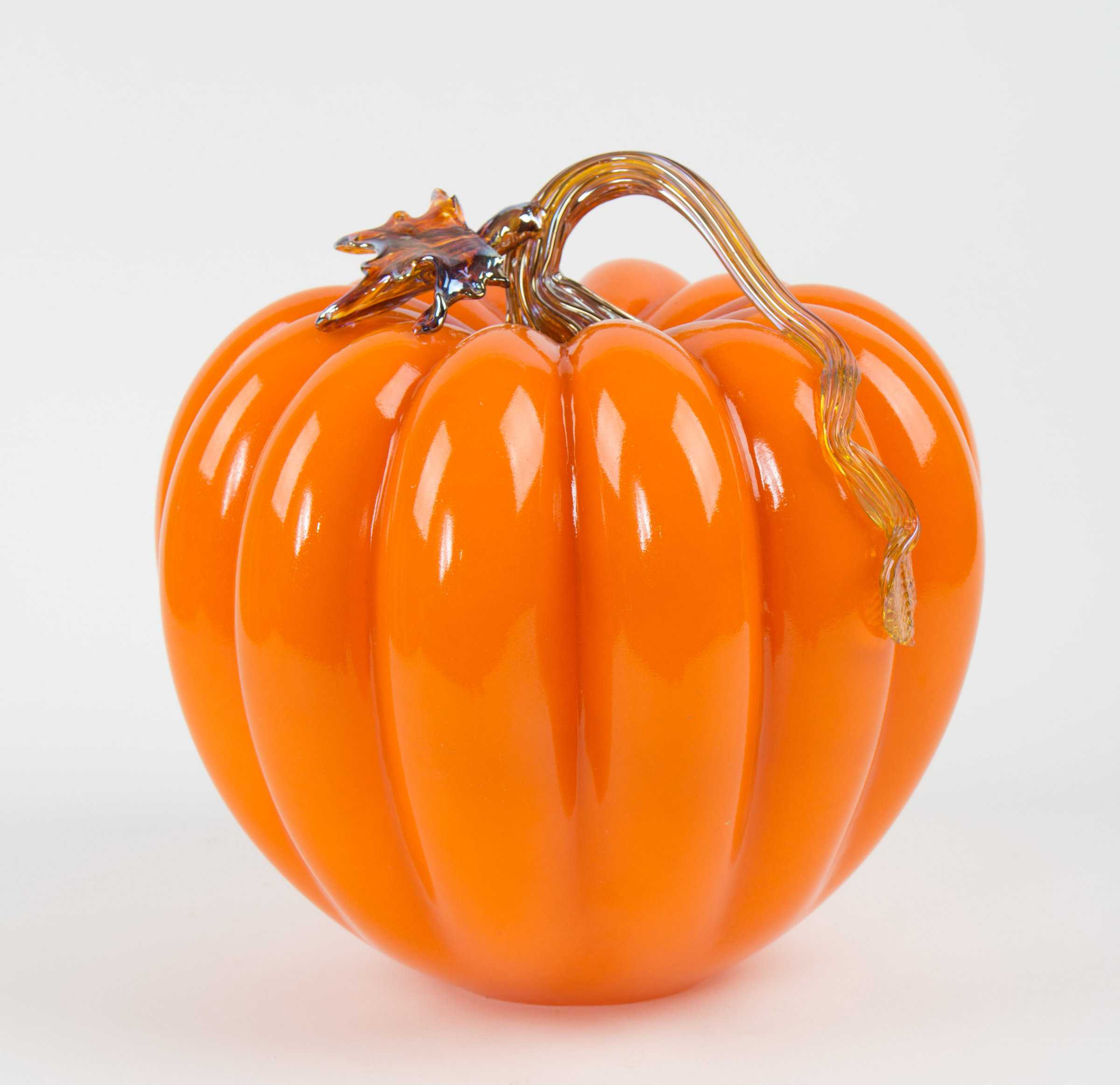 Large Orange Pumpkin By Treg Silkwood Art Glass Sculpture: silkwood glass