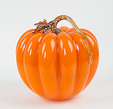 Large Orange Pumpkin by Treg  Silkwood (Art Glass Sculpture)