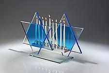 Royal Blue Menorah Bet by Sidney Hutter (Art Glass Menorah)