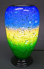 Blue and Green Powder Table Lamp by Curt Brock (Art Glass Table Lamp)
