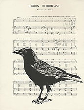 Crow Song by Barbara  Stikker (Linocut Print)