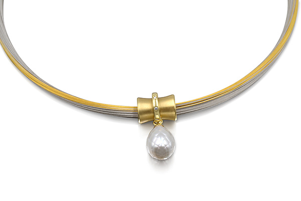 18k Gold and South Sea Pearl Orbit Bead Pendant