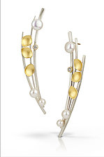 Diamond Leaf Earrings by Judith Neugebauer (Gold, Silver, Stone & Pearl Earrings)
