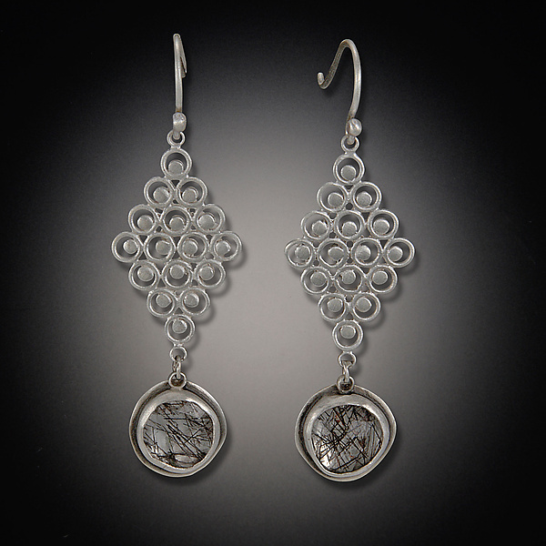 Diamond Filigree Earring with Tourmalated Quartz Drops