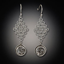 Diamond Filigree Earring with Tourmalated Quartz Drops by Ananda Khalsa (Silver & Stone Earrings)