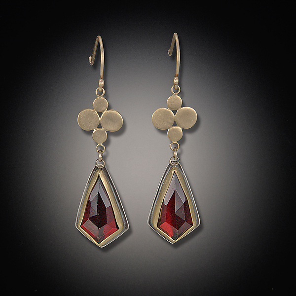 Gold Medium Multidisc Earrings with Garnet Drops