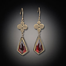 Gold Medium Multidisc Earrings with Garnet Drops by Ananda Khalsa (Gold & Stone Earrings)