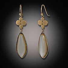 Gold Medium Multidisc Earrings with Moonstone Drops by Ananda Khalsa (Gold & Stone Earrings)