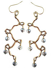 Calder Chandelier Earrings by Julie Cohn (Bronze & Pearl Earrings)